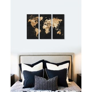 "Oliver Gal 'Mapamundi on the Rocks Night Triptych' 3 Piece Set, World Map Canvas Wall Art Print - Gold - 17"" x 36"" x 3 panels"