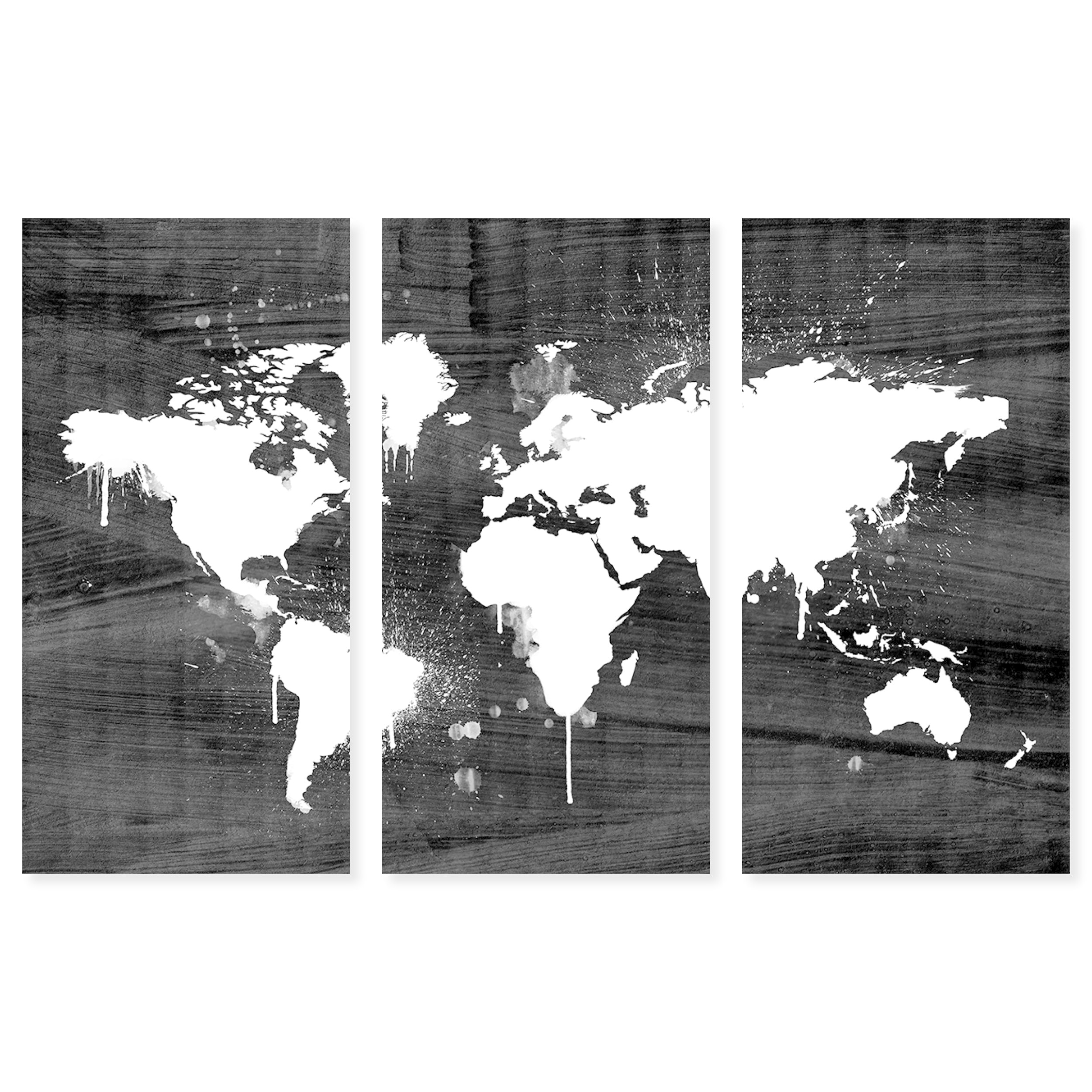 Oliver Gal Mapamundi Noir Triptych 3 Piece Set World Map Wall Art Print On Canvas Black White Overstock 25642146
