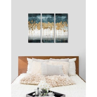 "Oliver Gal 'Meadow Gold Triptych' 3 Piece Set, Abstract Wall Art Print on Canvas - Blue, Gold - 17"" x 36"" x 3 panels"