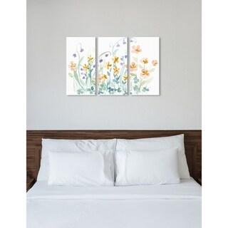 "Oliver Gal 'The Secret Garden Triptych' 3 Piece Set, Floral Wall Art Print on Canvas - Green - 17"" x 36"" x 3 panels"