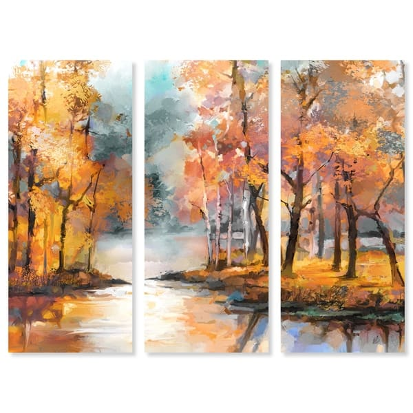 Oliver Gal Autumn River Triptych 3 Piece Set Nature Wall Art Print On Canvas Orange Overstock 25642158