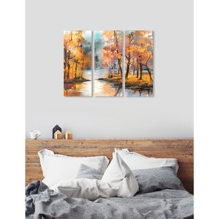"Oliver Gal 'Autumn River Triptych' 3 Piece Set, Nature Wall Art Print on Canvas - Orange - 17"" x 36"" x 3 panels"
