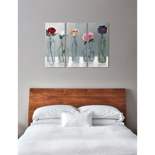 """Oliver Gal 'Bottled Flowers Triptych' 3 Piece Set, Floral Wall Art Print on Canvas - pink, gray - 17"""" x 36"""" x 3 panels"""