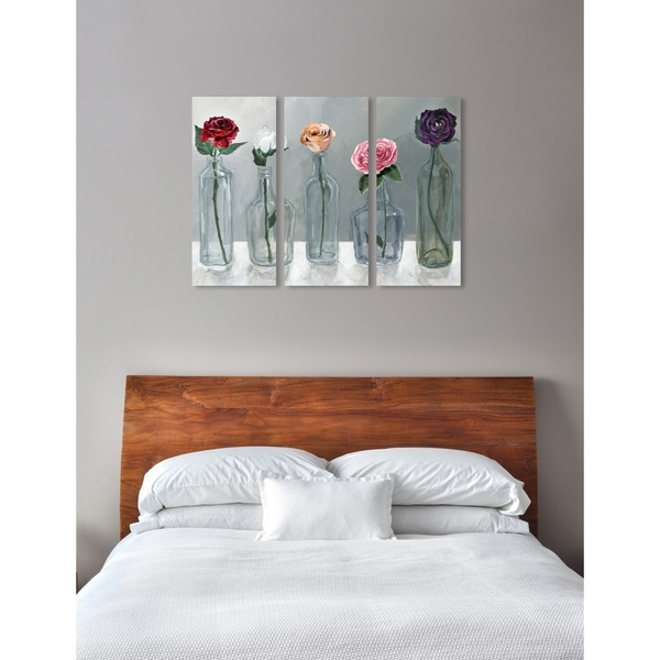 "Oliver Gal 'Bottled Flowers Triptych' 3 Piece Set, Floral Wall Art Print on Canvas - pink, gray - 17"" x 36"" x 3 panels"