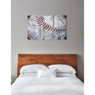 """Oliver Gal 'Baseball Made Triptych' 3 Piece Set, Sports Wall Art Print on Canvas - Red - 17"""" x 36"""" x 3 panels"""