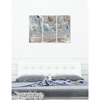"""Oliver Gal 'Marmolato Triptych' 3 Piece Set, Abstract Wall Art Print on Canvas - Brown - 17"""" x 36"""" x 3 panels"""