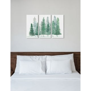 """Oliver Gal 'Forest Pine Triptych' 3 Piece Set, Nature Wall Art Print on Canvas - Green - 17"""" x 36"""" x 3 panels"""