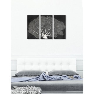 """Oliver Gal 'Coral Fan Night Triptych' 3 Piece Set, Nature Wall Art Print on Canvas - Black - 17"""" x 36"""" x 3 panels"""