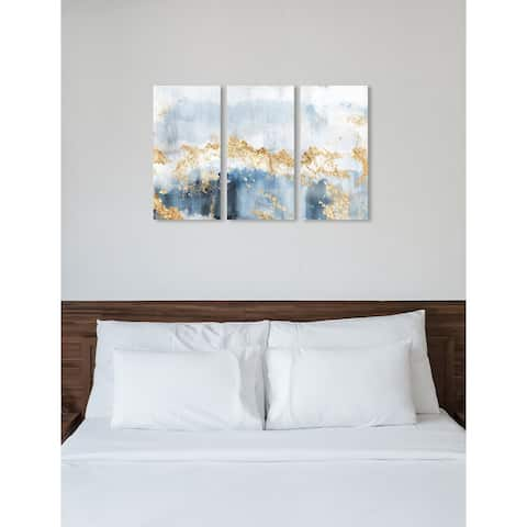 """Oliver Gal 'Eight Days a Week Triptych' 3 Piece Set, Abstract Wall Art Print on Canvas - Blue, Gold - 17"""" x 36"""" x 3 panels"""