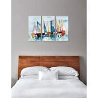 "Oliver Gal 'Beautiful Boat Day Triptych' 3 Piece Set, Coastal Wall Art Print on Canvas - Blue - 17"" x 36"" x 3 panels"