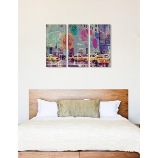 "Oliver Gal 'NYC Fashion Taxi Triptych' 3 Piece Set, Wall Art Print on Canvas - Green - 17"" x 36"" x 3 panels"