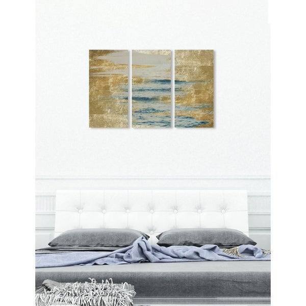 "Oliver Gal 'Sea in Gold Triptych' 3 Piece Set, Abstract Wall Art Print on Canvas - Blue, Gold - 17"" x 36"" x 3 panels"