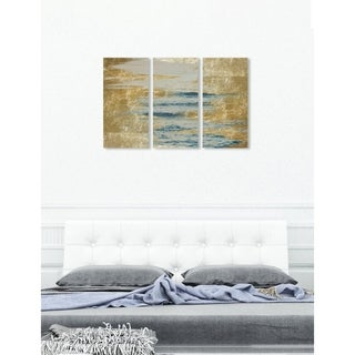 """Oliver Gal 'Sea in Gold Triptych' 3 Piece Set, Abstract Wall Art Print on Canvas - Blue, Gold - 17"""" x 36"""" x 3 panels"""
