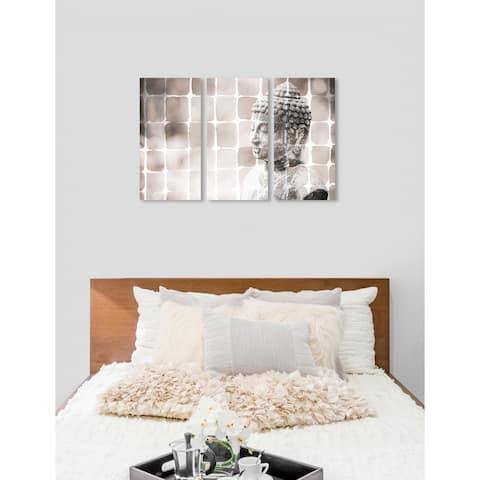 "Oliver Gal 'The Zen Garden Soft Triptych' 3 Piece Set, Wall Art Print on Canvas - Brown - 17"" x 36"" x 3 panels"