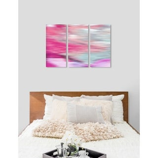 "Oliver Gal 'Prelude Triptych' 3 Piece Set, Abstract Wall Art Print on Canvas - Pink - 17"" x 36"" x 3 panels"