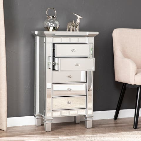 Silver Orchid Mailes Mirrored 5-drawer Accent Chest