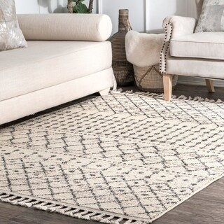 The Curated Nomad Ashbury Ivory Bohemian Geometric Moroccan Trellis Tassel Area Rug