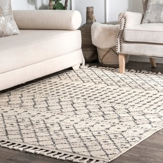 The Curated Nomad Ashbury Ivory Bohemian Moroccan Trellis Tassel Area Rug