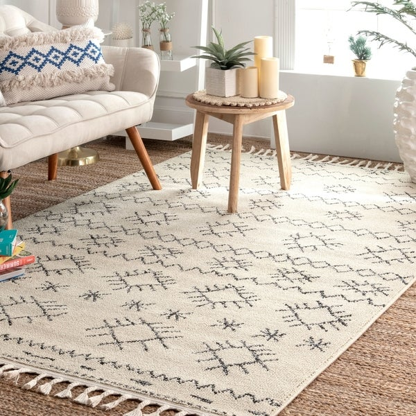 The Curated Nomad Ashbury Ivory Geometric Diamond Tassel Area Rug
