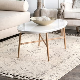 The Curated Nomad Ashbury Ivory Contemporary Geometric Moroccan Tassel Area Rug