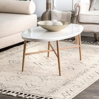 The Curated Nomad Ashbury Ivory Contemporary Moroccan Tassel Area Rug
