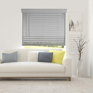 Arlo Blinds Grey Cordless Lift Faux Wood Blinds with Royal Valance