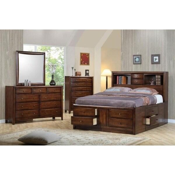 Shop Quaint Warm Brown Bookcase Headborad And Storage Bed
