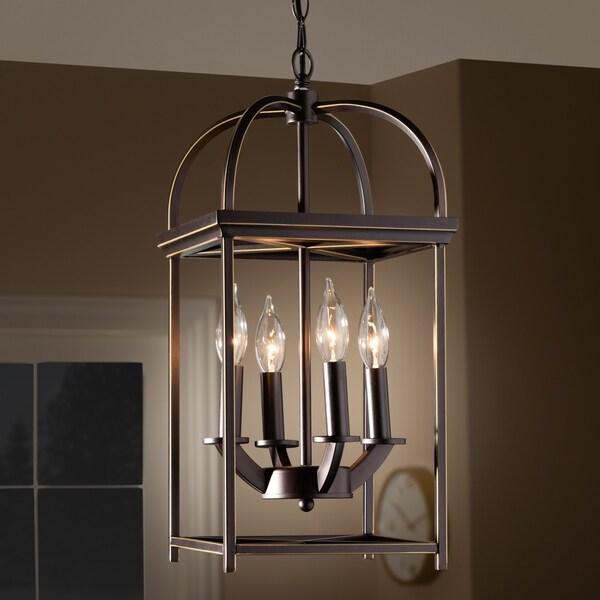 Shop Rustic Farmhouse Dark Bronze Metal 4-Light Lantern