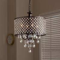 Contemporary Dark Bronze 4-Light Drum Pendant Light Chandelier - Dark bronze