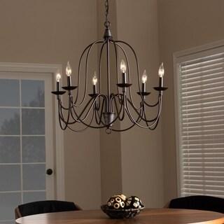 Transitional Dark Bronze Metal 6-Light Chandelier - Dark bronze