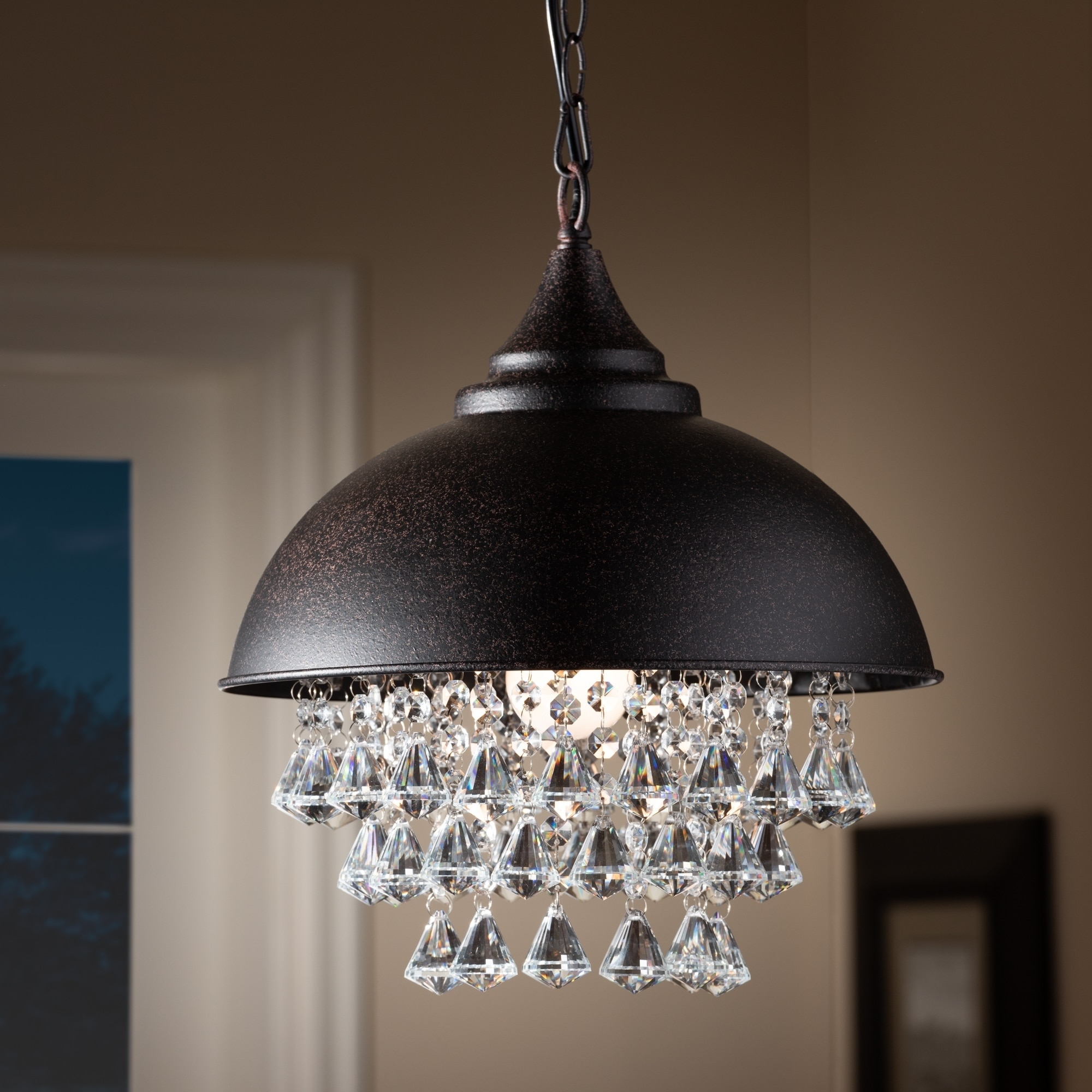 Contemporary Rust Metal And Crystal Pendant Light