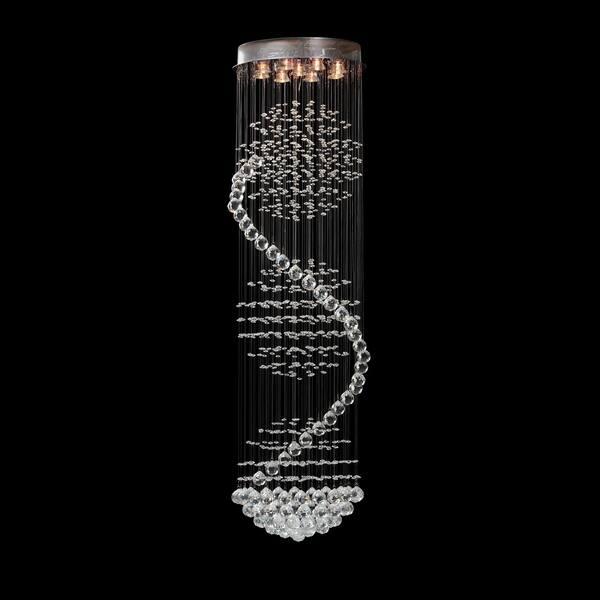 Contemporary Long Spiral Pendant Light Chandelier Silver