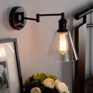 Rustic Farmhouse Dark Bronze Metal Swing Arm Wall Sconce Lamp