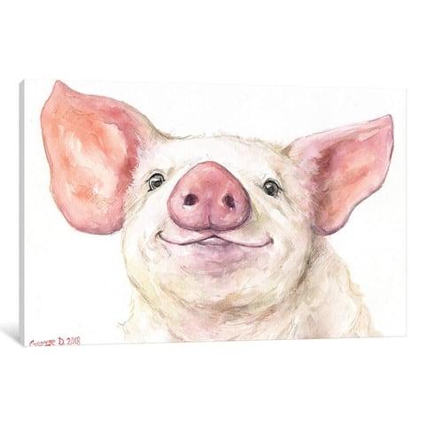 "iCanvas ""Happy Piggy"" by George Dyachenko"
