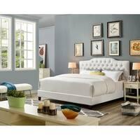 Cecelia White Faux Leather Platform Bed Frame