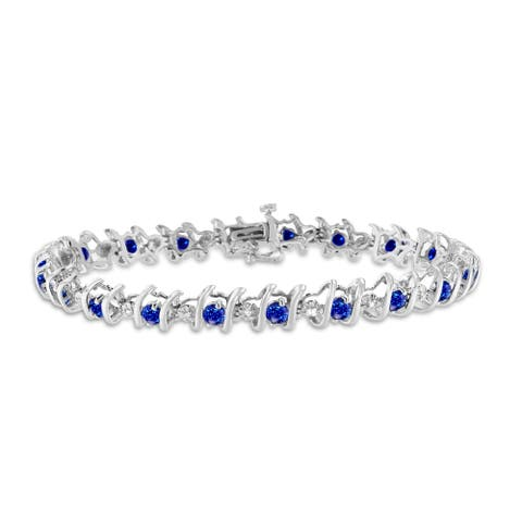 Sterling Silver Birthstone and Diamond S-Link Tennis Bracelet (H-I, I1-I2)