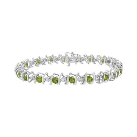 Sterling Silver Birthstone and Diamond S-Link Tennis Bracelet (H-I, I1-I2)