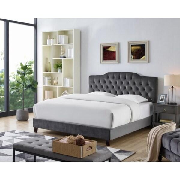 Lorenzo Grey Velvet Platform Bed Frame