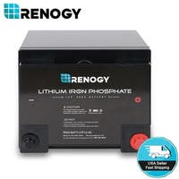 Renogy 12V Volt 50Ah Lithium Iron Phosphate Battery Rechargeable Deep Cycle BMS - Black