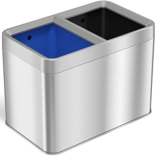 iTouchless Dual-Compartment 5.3 Gallon / 20 Liter Open-Top Trash Can