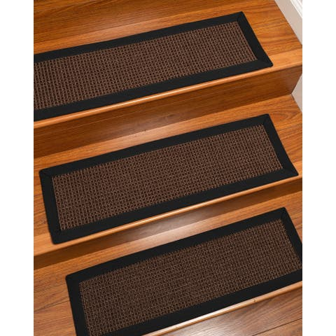 "Natural Area Rugs 1Alma, Sisal Dark Brown, Handmade Custom Stair Treads Carpet Set Of 13 (9""X29"") Black Border - 13PC (9"" x 29"")"