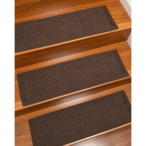 "Alma, Sisal Dark Brown Custom Stair Treads Carpet Set Of 4 (9""X29"") Fudge Border - 4PC (9"" x 29"")"