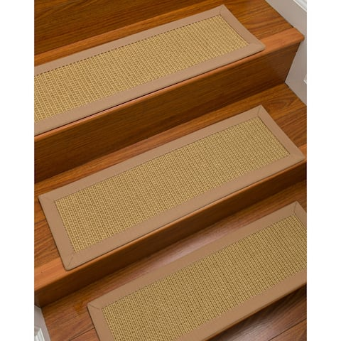 "Natural Area Rugs 100% Natural Fiber Devon, Sisal Beige, Handmade Custom Stair Treads Carpet Set Of 4 (9""X29"") Wheat Border"