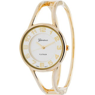 Geneva Women's Platinum Polished Bangle Watch