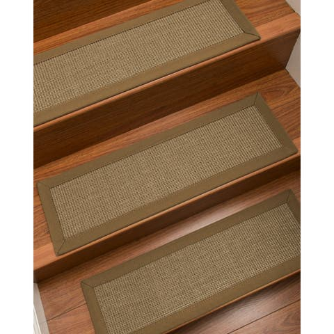 "Natural Area Rugs 100% Natural Fiber Dalton, Sisal Grey, Handmade Custom Stair Treads Carpet Set Of 4 (9""X29"") Squirrel Border"