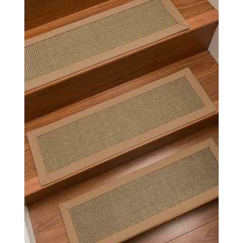 "Natural Area Rugs 100% Natural Fiber Dalton, Sisal Grey, Handmade Custom Stair Treads Carpet Set Of 4 (9""X29"") Wheat Border"