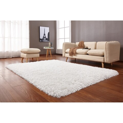 "White Solid 8x11 Area Rug - 7'6"" x 10'3"""