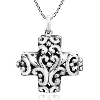 Handmade Gorgeous Filigree Swirl Decorated Sterling Silver Cross Locket Necklace Thailand