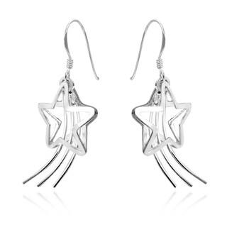 Handmade Adorable Shooting Stars .925 Silver Earrings-42 mm (Thailand)