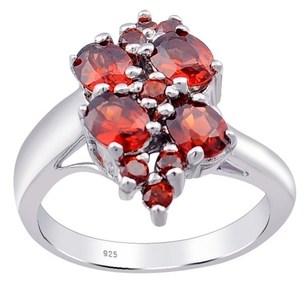 Birthstone Mother/'s Ring Sterling Stackable Garnet January Gemstone .925